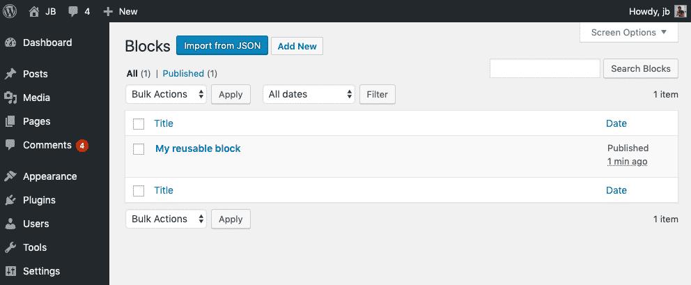 Reusable blocks WP admin screen without plugin