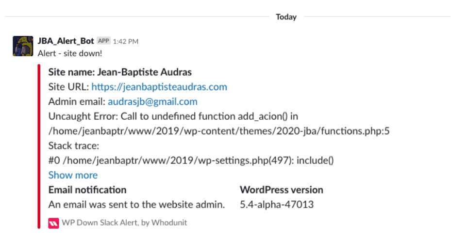 WordPress recovery mode slack notification example
